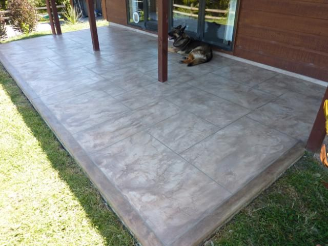 Resurfaced Concrete Patio With Border