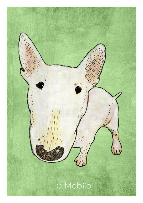 DIGITAL Bullterrier illustration-postcard sized instant by mobijo