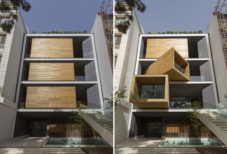 Sharifi-Ha house in Tehran incorporates a series of semi-mobile rooms, which can be oriented to allow for extra space and sunlight.