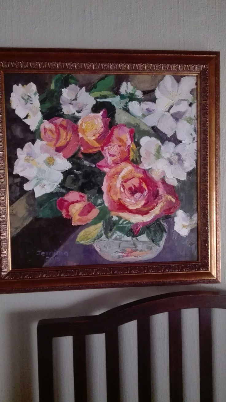 Orange roses and apple blossoms. Jemima's art. Oil painting.