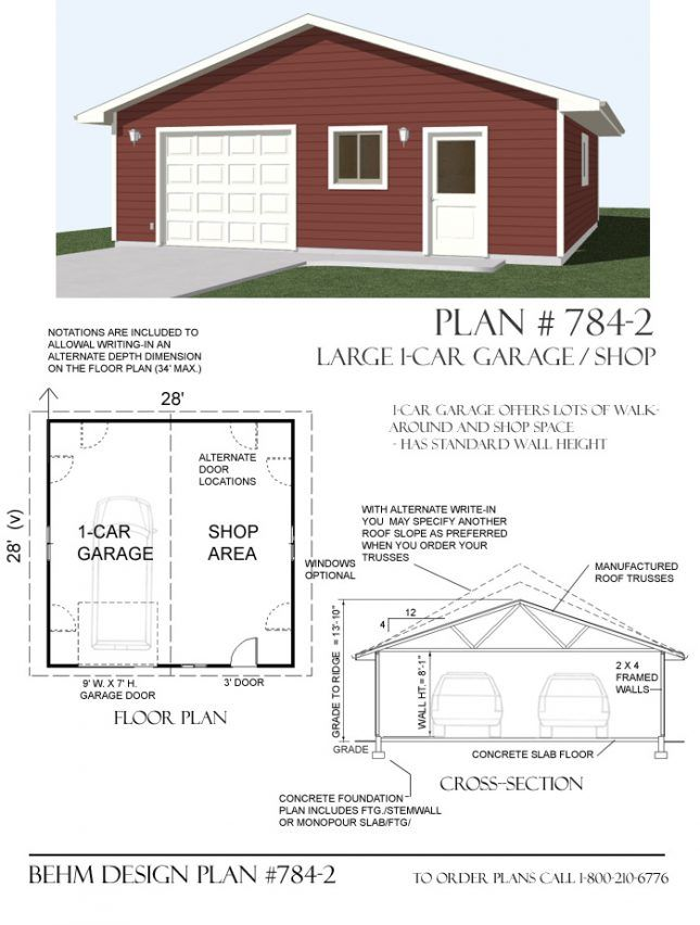 1 Car Shop Garage With Front Doors And Window Plan No 784 2 28 X 28 Garage Plans Garage Shop Plans Garage Design