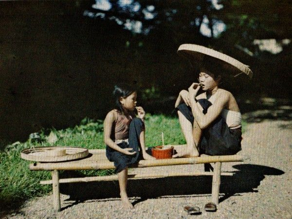 "Girls Eating Betel Nuts  Vietnam, c. 1921. ""The Wonderful World of Albert Kahn""."
