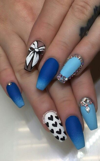 Pinterest: Ruby ♕ | Blue ombre rhinestone nails @nailsbymztina