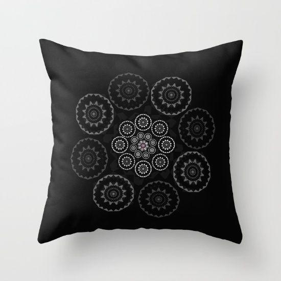 Throw Pillow, mandala, black