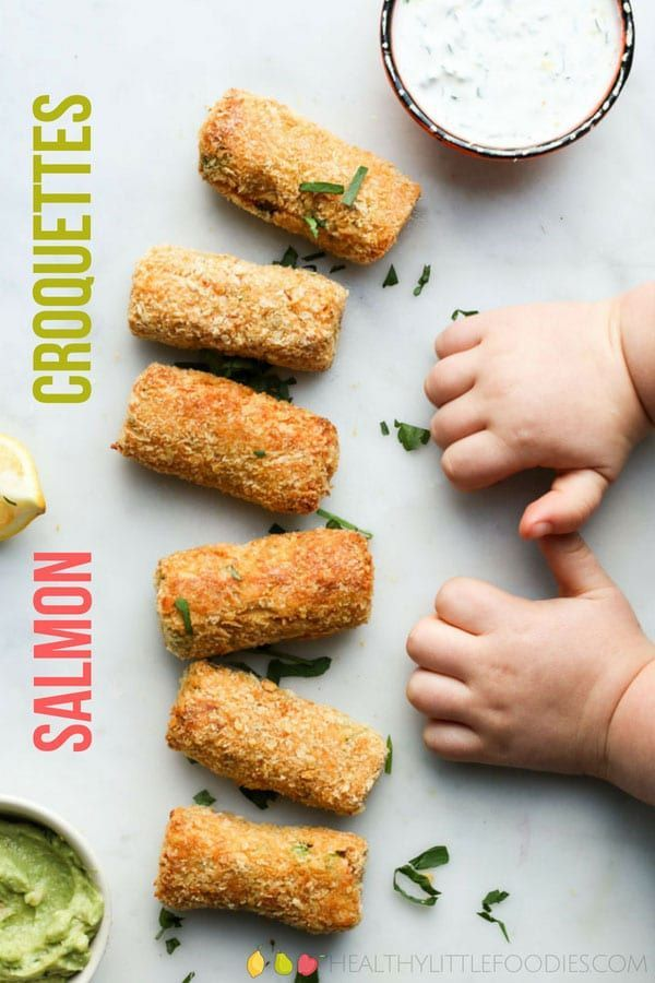 Delicious Salmon and Pea Croquettes.  A perfect finger food for Baby-Led Weaning…