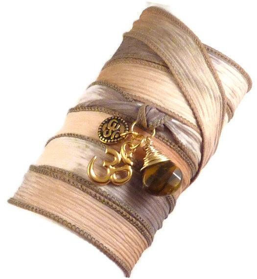 Om Silk Wrap Bracelet with Tiger's Eye silk by charmeddesign1012, $33.99