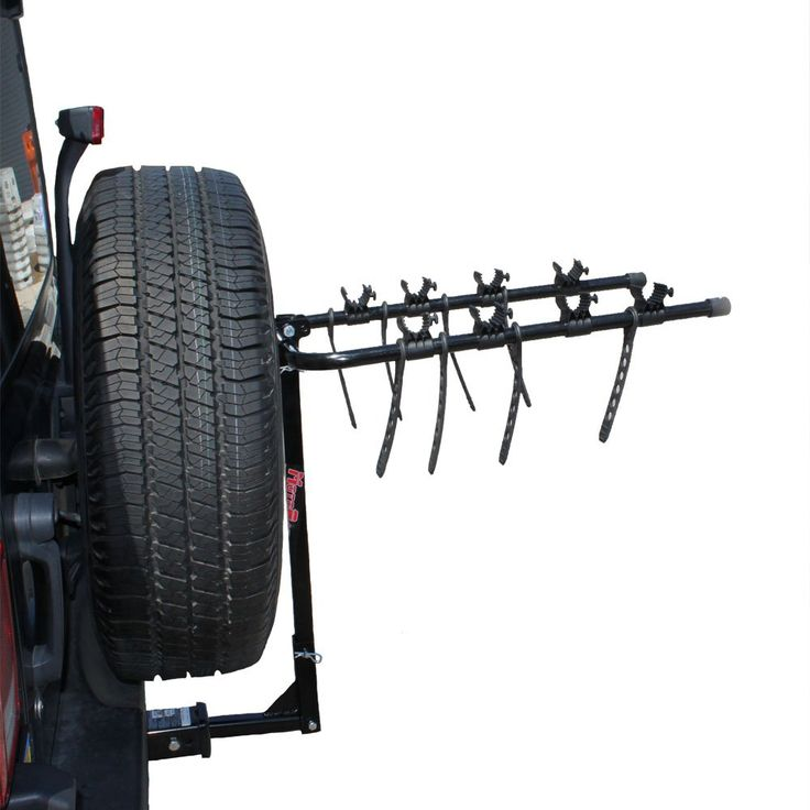 """MotoGroup Bike Rack for Car, Truck, or SUV w/ Receiver Hitch - 4 Bike Carrier. Carries four bicycles. Fits with 2"""" tow package with attached dampener OR 1.25"""" tow package without. Rubber bike straps keep your bike from being scratched during transit. (Not the nylon straps like ev. Fits a 1-1/4"""" OR 2"""" Class I, II, III or IV hitch size."""