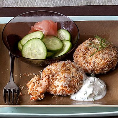 Salmon Cakes With Dill Sauce    Substitute salmon for crab, and you have a seafood feast with a healthy dose of omega-3s. Greek-style yogurt adds creaminess without too much saturated fat.Sauces Recipe, Seafood Recipe, Fish Seafood, Easter Recipes, Healthy Fish Recipes, Dill Sauces, Healthy Recipes, Weights Loss, Salmon Cakes