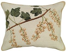 "NCU115 White Currants Beautiful handmade Needlepoint pillow. 16""x20"" . A lovely branch of White Currants runs diagonally across the pillow. Excellent detail makes the Currants very realistic. Whites, Beiges, Soft Gold hues form the Currants. Rich shades of Brown make up the Stem.. While lovely Pale, Medium, and Dark Greens make up the Leaves. A soft border of Beige edges the pillow. Beige, cotton velvet zippered back."