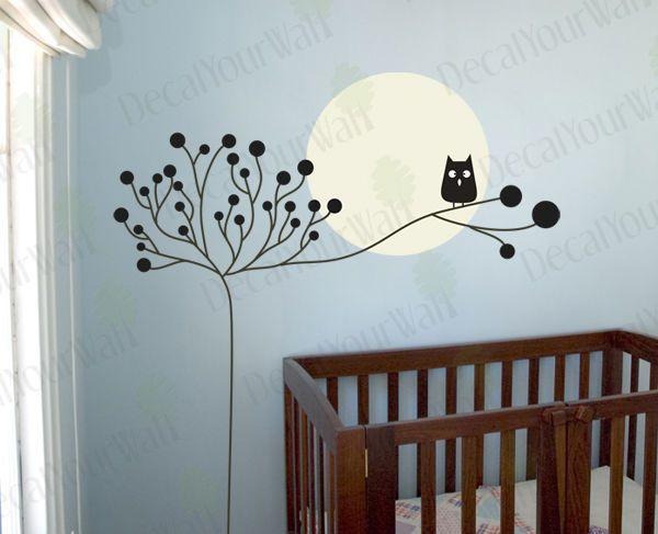Nursery Kids Room Tree Owl Moon wall Art Vinyl Decal Sticker Decor Matte finish #DecalYourWall #ArtDeco