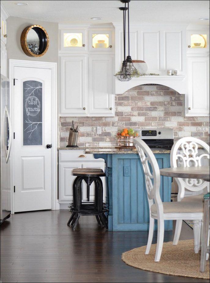 Kitchen Wonderful Whitewash Brick Backsplash Image Design