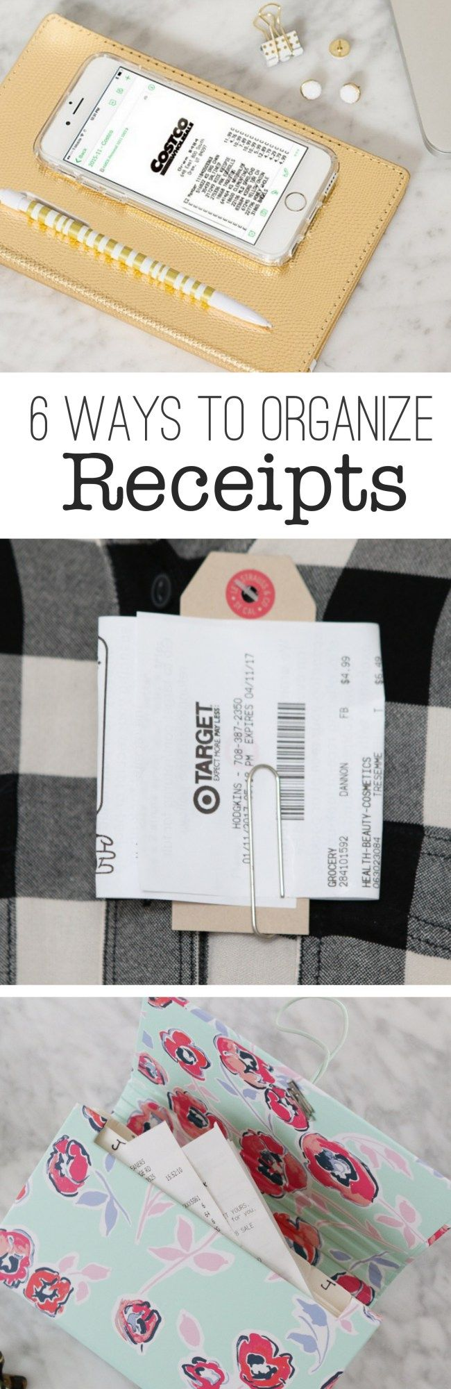 Organizing Receipts the easy way! Check out these ideas to take your organization skills to the next level and get your paper clutter under control.