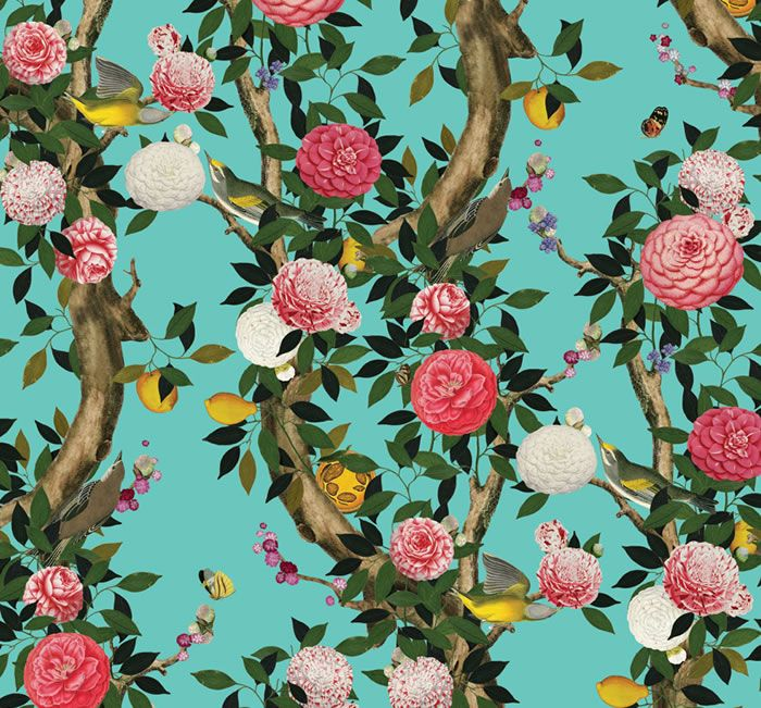 Garden Bloom Teal by Kingdom Home. Designs for Interiors by Kenneth King, digitally printed only by Emily Ziz.