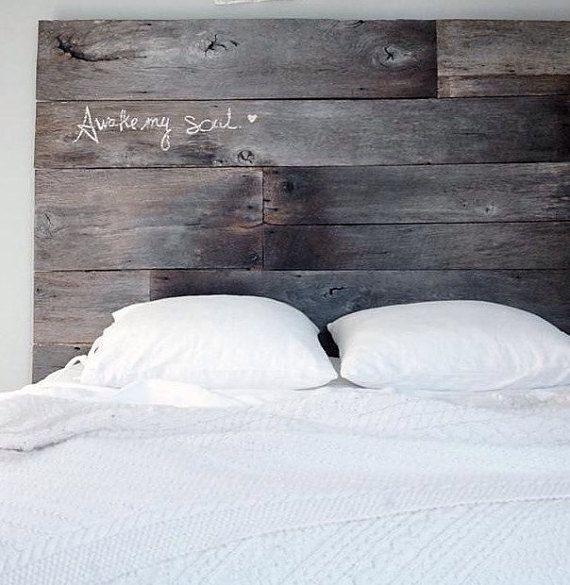 This reinbarnated headboard is made from 100 year old oak barn wood