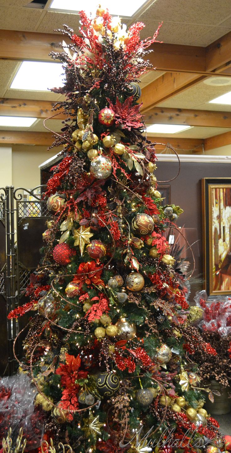 32 best christmas trees color red images on pinterest for Red and white christmas tree theme