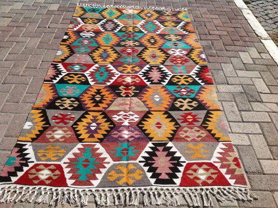 """Kilim rug, 90.5"""" x 51"""" Vintage Turkish kilim rug, area rug, kilim rug, vintage rug, bohemian rug, Pastel Turkish rug, rug, soft colored"""