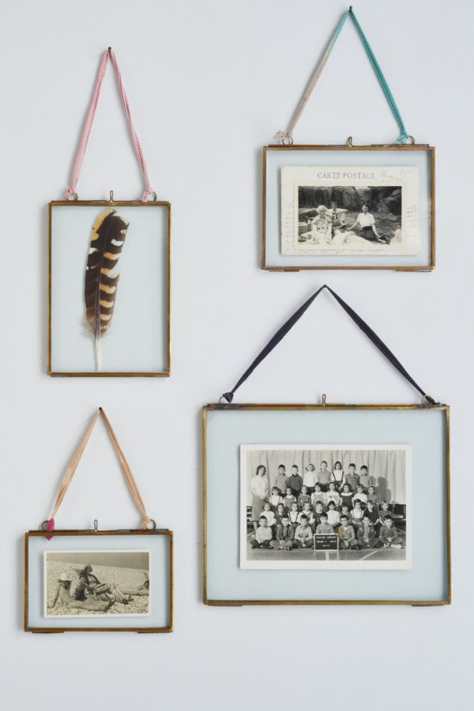 Double sided picture frame: hanging brass from Decorator's Notebook