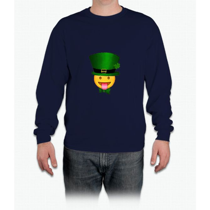 Tongue emoji leprechaun Long Sleeve T-Shirt