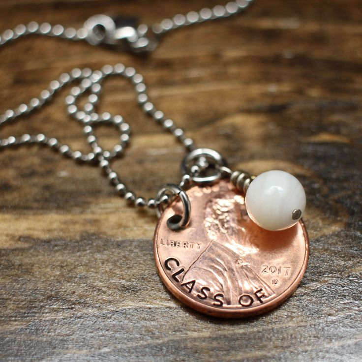 Graduation Gift - Class of 2017 Graduation Necklace - Hand-stamped 2016 Penny Necklace - School Color Necklace - by HammeredbyNaptime on Etsy