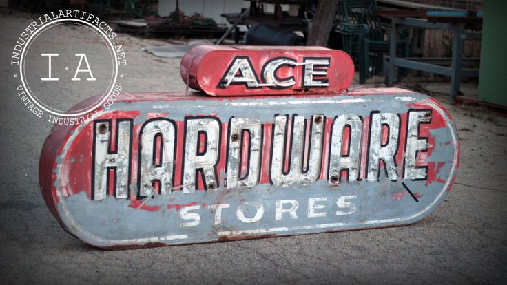 Vintage Industrial Ace Hardware Painted Steel Neon Lighted Sign