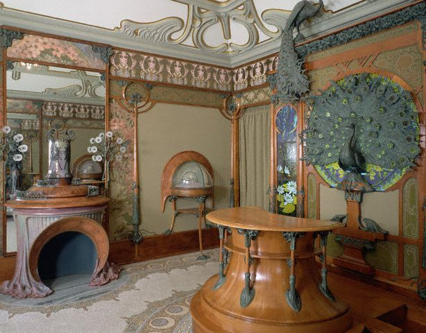 This exquisite Art Nouveau interior was designed by Alphonse Marie Mucha in 1900 for the boutique of Parisian jeweler, Georges Fouquet. The interior has been reconstructed in the Musee des Arts Decoratifs in Paris to preserve its beauty and artistic importance.