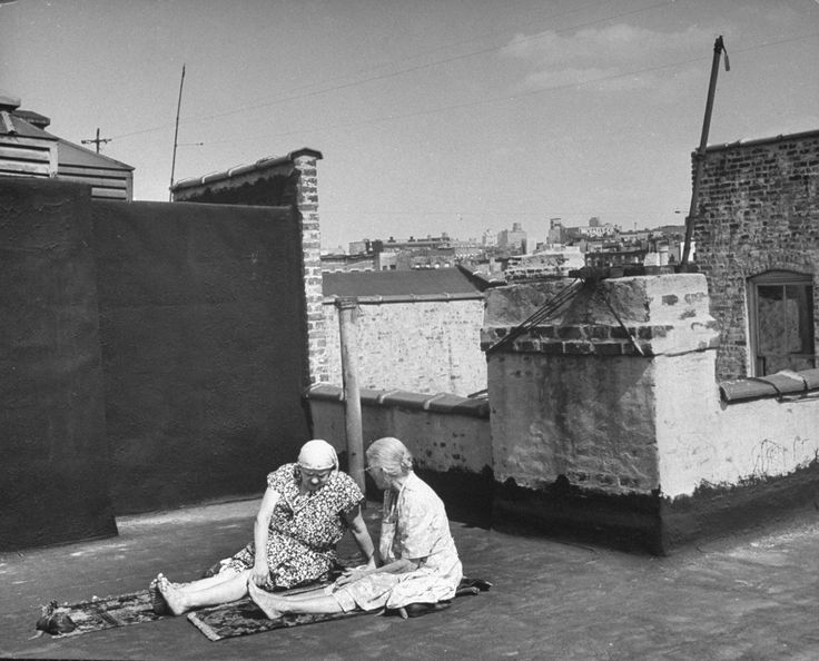 Taking the sun on a Brooklyn rooftop, 1946