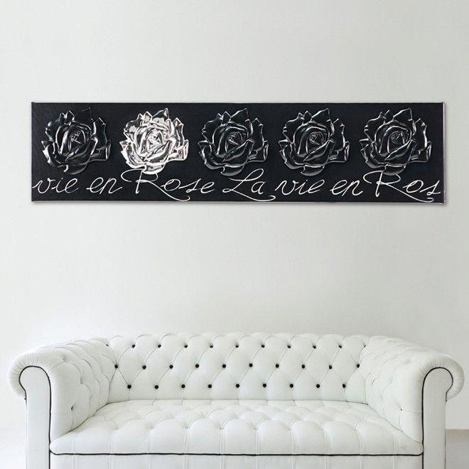 P3270 - La vie en Rose di PINTDECOR cm 180x40   Elementi in ceramica composita, quattro laccati nero e uno cromato, decorati a mano, fondo nero su struttura telata, finitura lucida.  #quadro #p3270 #vie #en #rose #lavieenrose #pintdecor #pannello