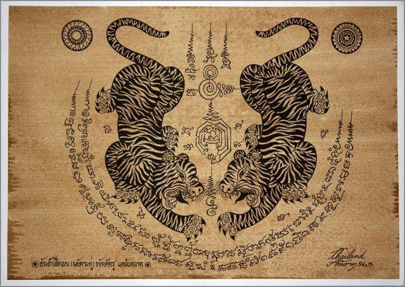 Arte tradicional tailandés de talismán Tiger Leap (pares de Tiger) por la impresión en papel sepia por AmornGallery