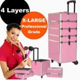Luxo 4 in 1 Portable Pink Travel Beauty Cosmetic Professional Aluminium Frame Velvet Lining Makeup Case