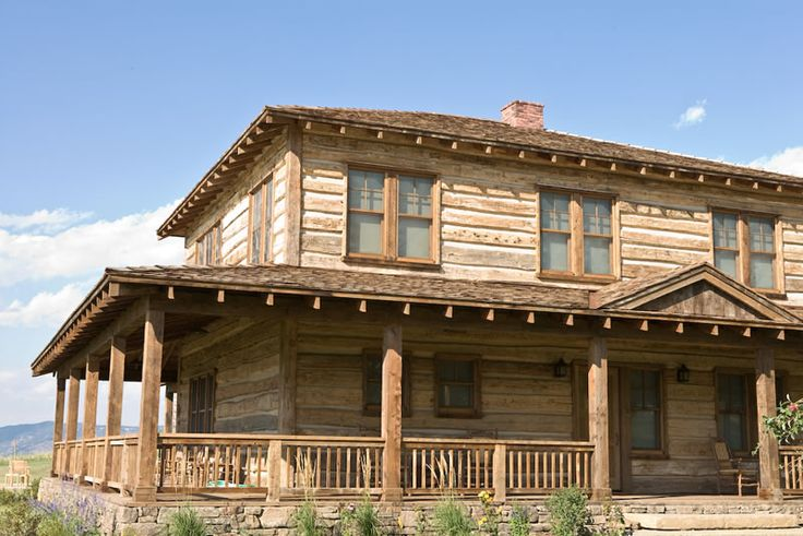 Montana reclaimed lumber love the porch would i ever love for Barn style house plans with wrap around porch