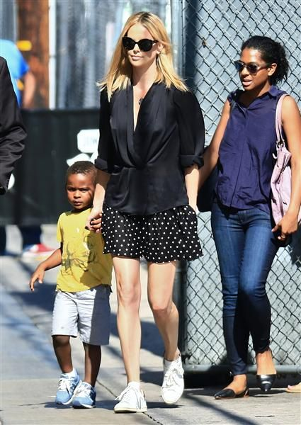 """Charlize Theron linked up with son Jackson Theron following her appearance on """"Jimmy Kimmel Live!"""" at ABC studios in Los Angeles on July 21, 2015."""