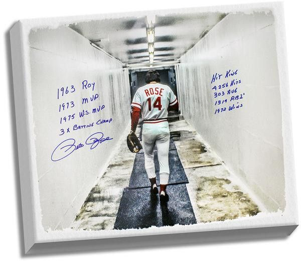 "Pete Rose Signed 28x35 Canvas In Tunnel w/ "" 9 Insc."" (Signed in Blue)"