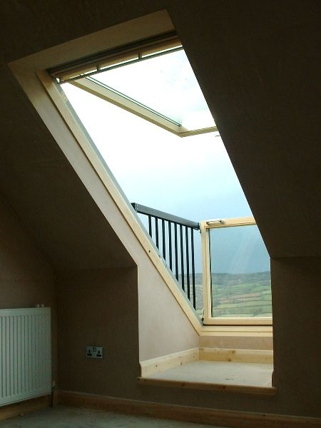 The VELUX CABRIO balcony system fits snugly to the roof when closed, but when opened it becomes an instant balcony in seconds. A great way to add value and a real wow factor to a property. Via @Kristen - Storefront Life Little Designs Loft Conversions.
