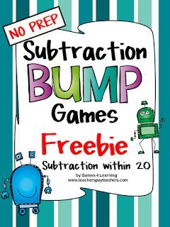 FREEBIES: Printable Subtraction Bump Games