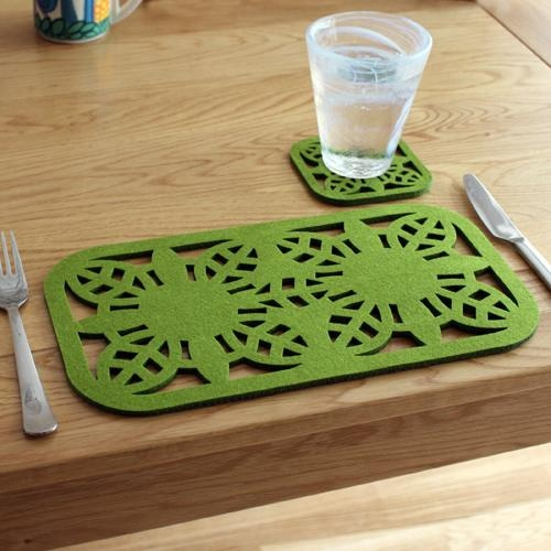laser-cut felt placemats - two pack - lime green floral