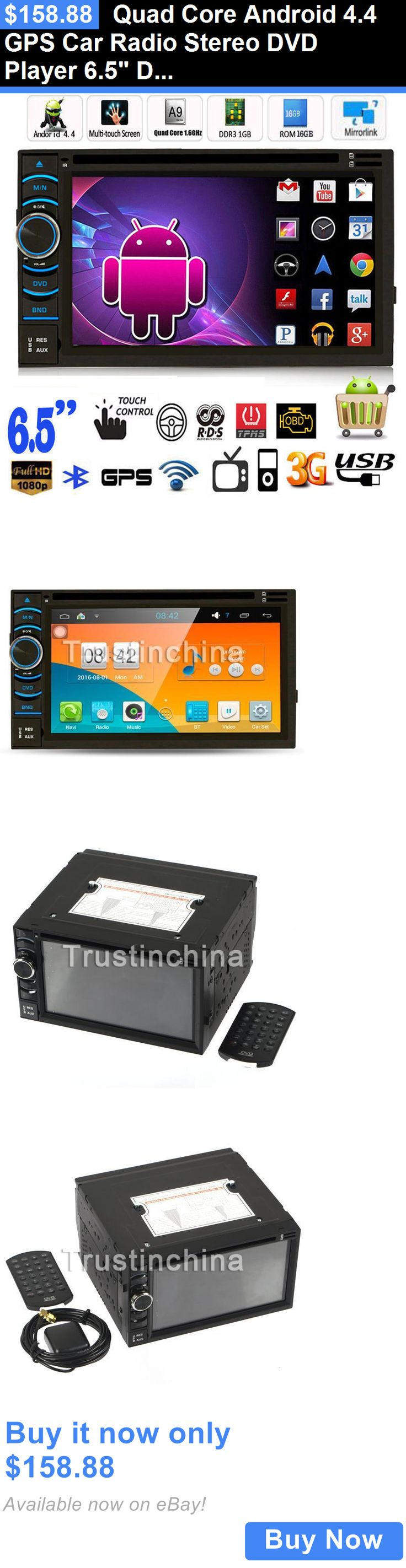Vehicle Electronics And GPS: Quad Core Android 4.4 Gps Car Radio Stereo Dvd Player 6.5 Double 2 Din 3G Wifi BUY IT NOW ONLY: $158.88
