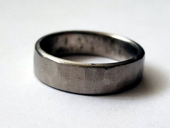 Rustic Titanium Ring Forged Hammered Mens Wedding Band Titanium Wedding Band Mens Ring Made By Black Rings For Men Mens Wedding Rings Titanium Wedding Rings