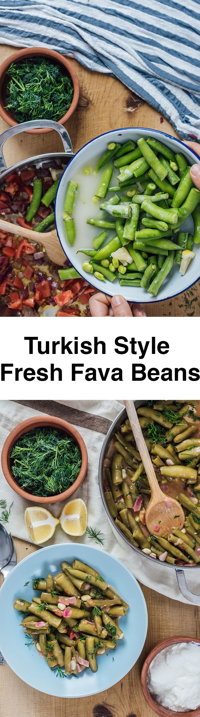 Fresh Fava Beans are braised in olive oil with tomatoes and onions and served at room temperature with lemon and yogurt. This is my favorite meatless dinner in spring.