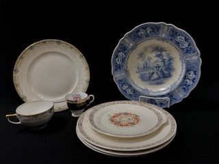 "GROUPING OF VINTAGE PORCELAIN DISHES AND AN ANTIQUE BLUE TRANSFERWARE ""OLYMPIAN"" SOUP BOWL. LOT INCLUDES A SMALL SET OF AMERICAN LIMOGES TRIUMPH DISHES, A NATIONAL DINNER WARE PLATE (WITH GLAZE LOSS), ETC."