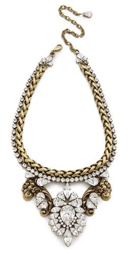 LOVE this antiqued brass and swarovski crystal bib necklace