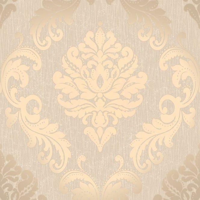 Henderson Interiors Chelsea Glitter Damask Wallpaper Taupe / Silver (H980512) - Wallpaper from I love wallpaper UK