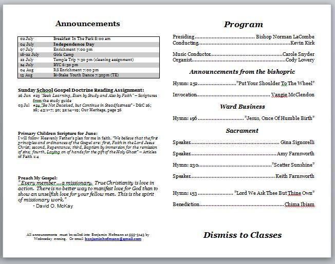 Church Bulletin Templates Church Bulletin Program Template Church Programs