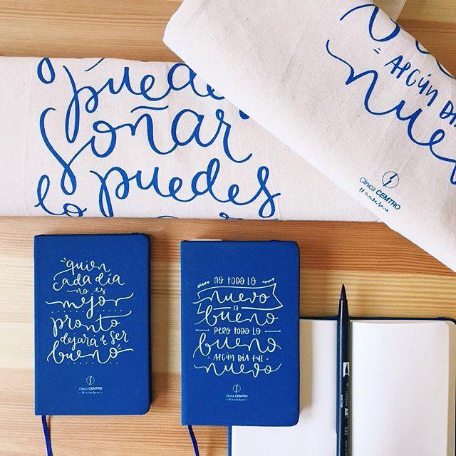 """happyletters_: """"Estos fueron los regalos a empleados del 17º aniversario de Clínica CEMTRO: bolsas de tela y moleskines con las """"citas célebres"""" del jefe.  #clinicacemtro #happyletters #rebejas #lettering #handlettering #handmade #handwritten #handwritting #handdrawn #type #thedailytype #calligritype #typography #goodtype #callygraphy #art #design #graphicdesign #typographyinspire #typespire #letteringco #dslettering #typeeverything"""""""