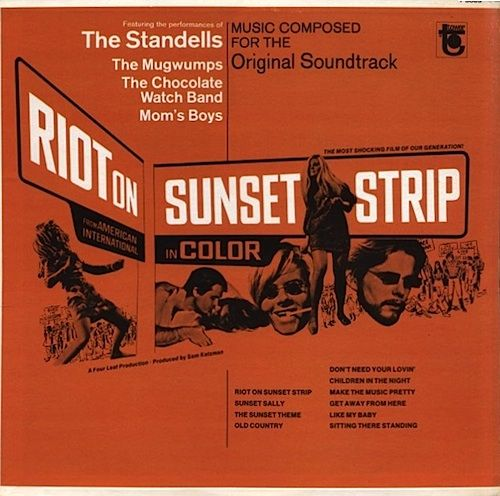 RIOT ON SUNSET STRIP 1967. ON DVD.  LA's civic leaders band together to do something about the invasion of longhairs on Hollywood's Sunset Strip.   Fantastic scenes of mid-60s Hollywood clubs and teen scenes that no longer exist. Hippies, pot, sugar cube LSD and psychedelic 60s rock and roll. Terrific fuzz garage punk by the Standells, the Chocolate Watch Band, and the Enemies (with Cory Wells later in 3 Dog Night).