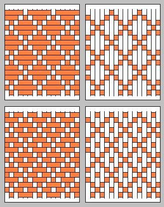 WEAVING | Really nice patterns can be achieved if you weave in and out in groups of 5. Note that the image on the right is the back side of the image on the left.          This pattern is the same as the one immediately above: namely, it has a diamond shape but with a dot in the middle. | CRAFTS