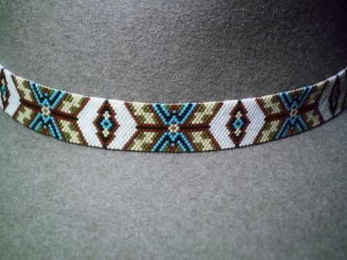 Exquisite Peyote Native American Style Hat Band Beaded Hatband: American Style, Peyote Native, Bead Hat Band Patterns, Beaded Hatbands, Peyote Patterns, Beaded Hat Band, Native American