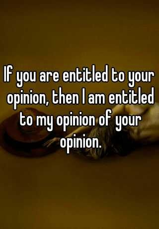 Image result for if you're entitled to your opinion, then I'm entitled to my opinion of your opinion