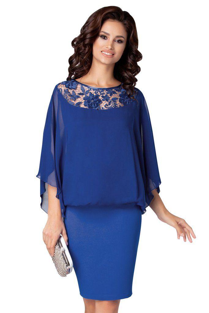 0e00cc5a961e KELLIPS Cobalt Blue Elegant Poncho Mini Dress in 2019 | Latest ...