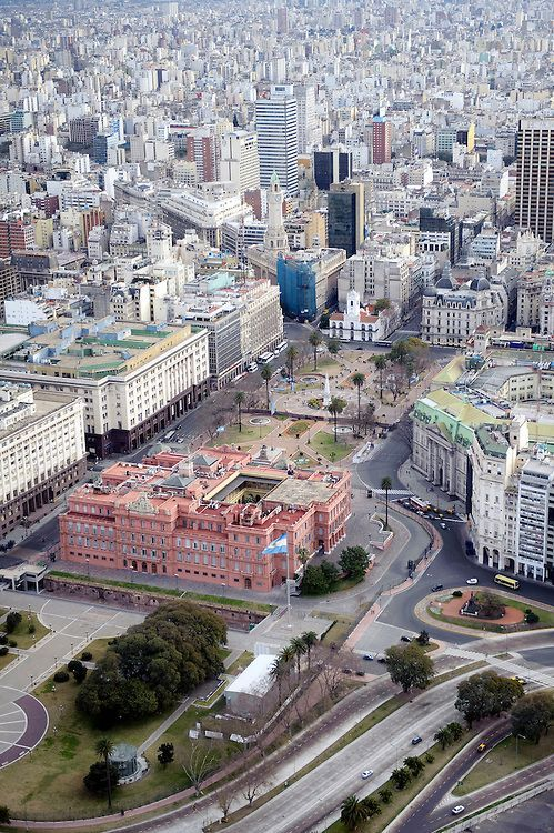 Buenos Aires, Argentina- Aerial view of La Casa Rosada, officially known as the Casa de Gobierno or Palacio Presidencial, is the official seat of the executive branch of the Government of Argentina.