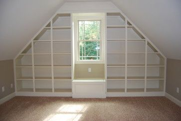 Finished Room Over Garage Design Ideas, Pictures, Remodel, and Decor - great idea for built in bookcases and window seat